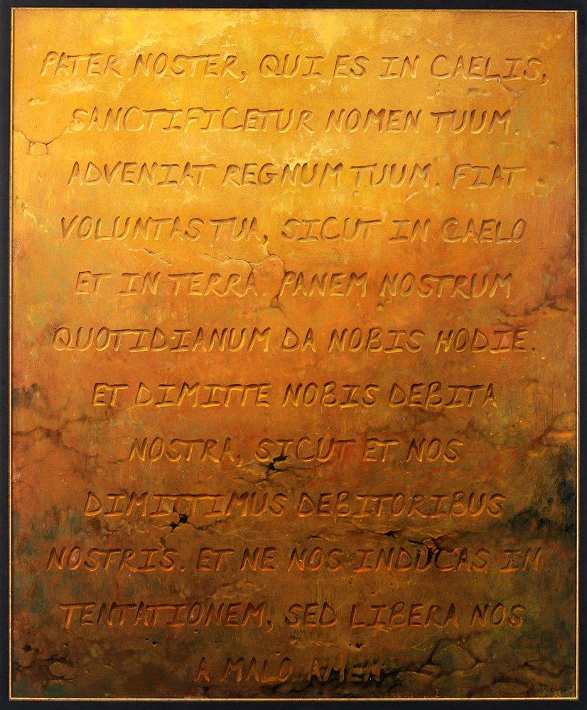 """Jarosław Kukowski """"Pater Noster"""" 100×122 cm, obraz olejny na płycie"""