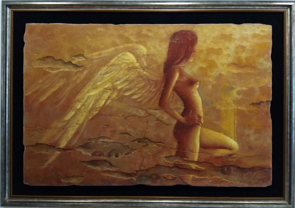 """Jarosław Kukowski """"Fresk no. 34″ olej na płycie, 122x80cm, w ramie 145×103 cm, cena 28000 zł"""