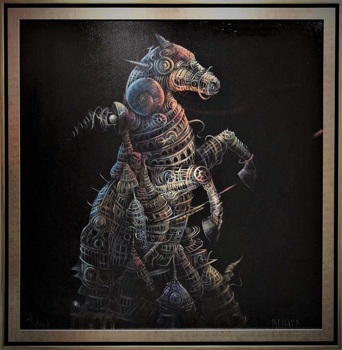 """Tomasz Sętowski, """"Incitatus"""", olej na płótnie,120×120 cm, cena 35000 zł"""