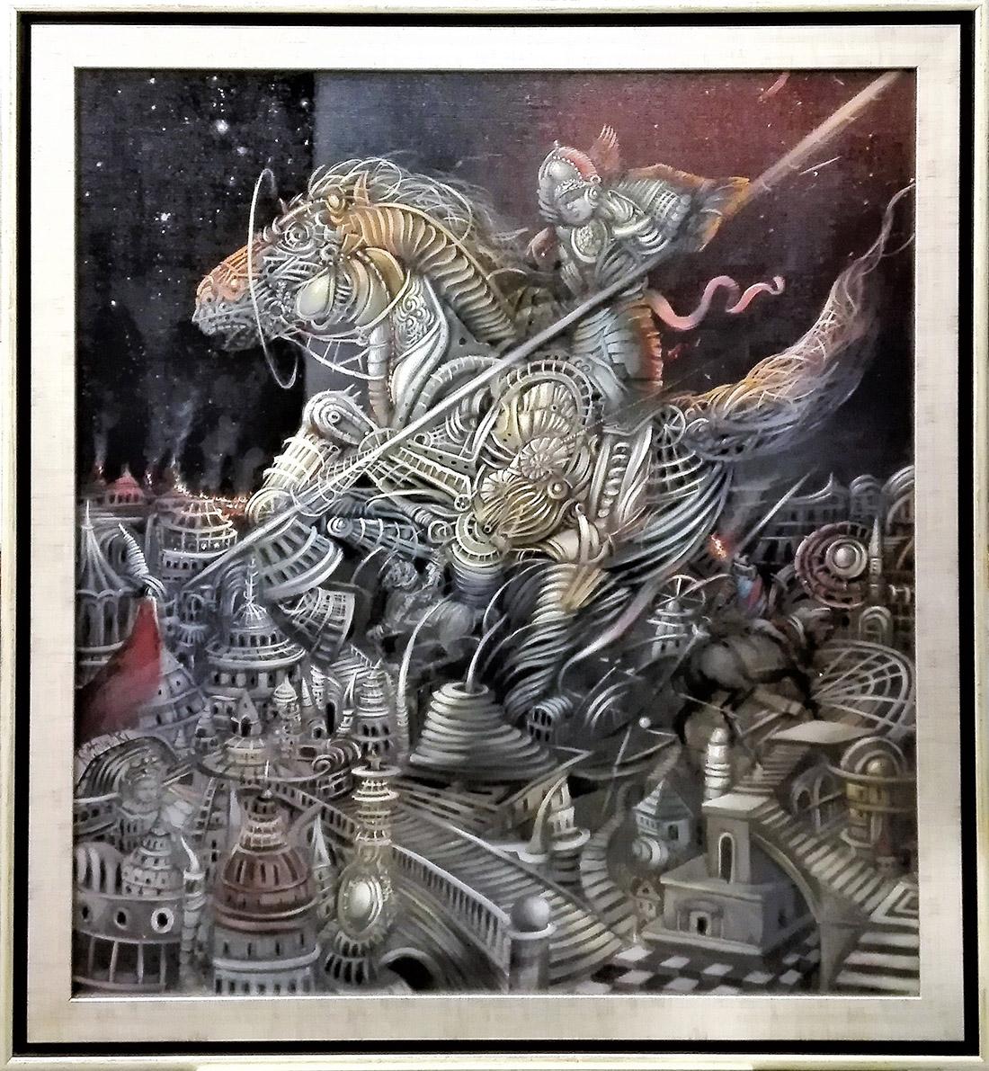 """Tomasz Sętowski, """"Zdobycie Troi"""", olej na płótnie,100×90 cm, cena 37000 zł"""
