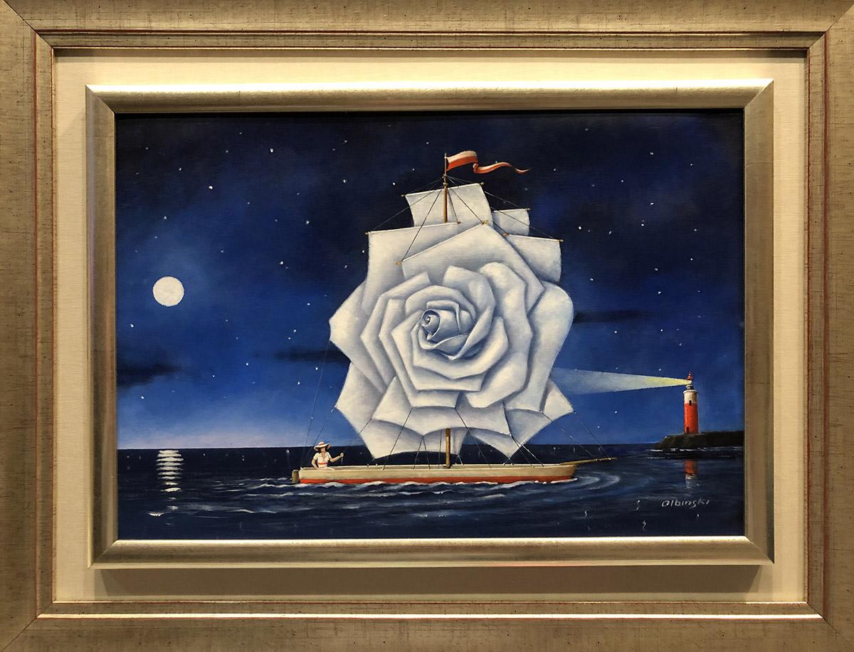 """Rafał Olbiński """"White rose"""" olej na płótnie, 27x39cm, cena 20000 zł"""