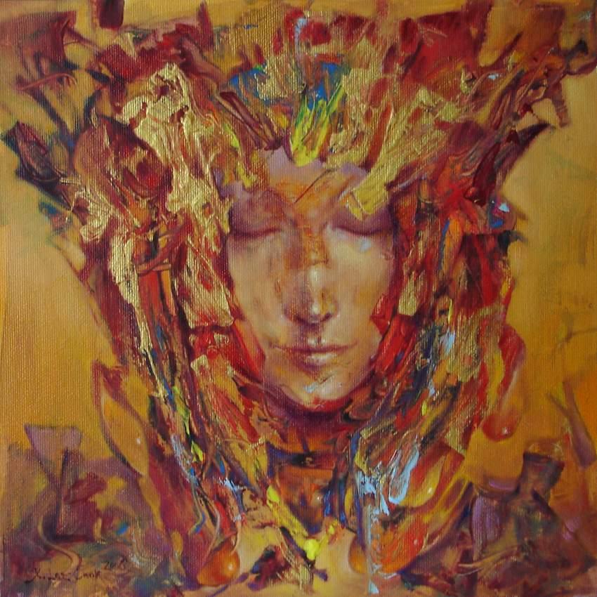 """Mariusz Konczalski, """"Aztecka księżniczka"""" 30×30 cm, olej, akryl, płótno"""