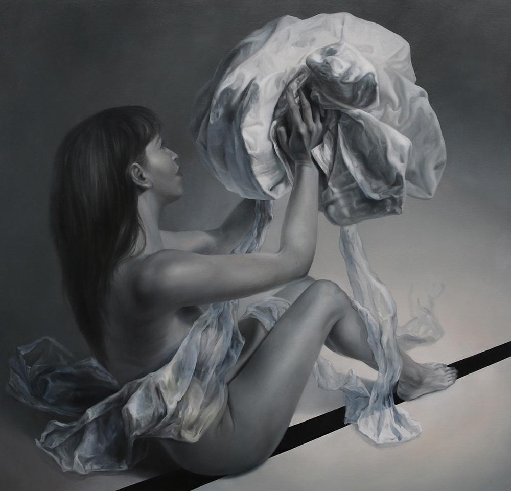 """""""Marzyciel w przejściu"""", 127×127 cm, olej na płótnie"""