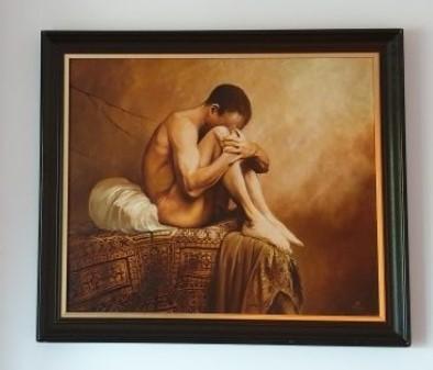 """Karol Bąk, """"Akt"""" ,55x 65 cm, olej na płótnie"""