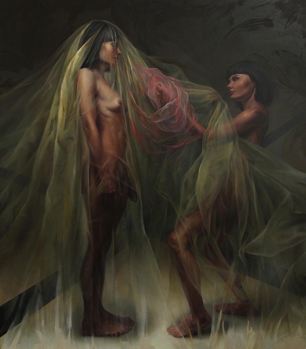 """""""Oswajanie bestii"""", 193×152 cm, olej na płótnie"""