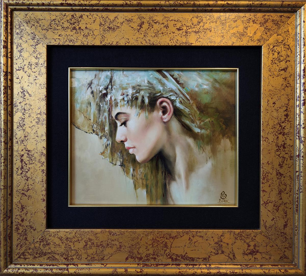 """Karol Bąk, """"Czułość"""" 30×25 cm, w ramie 53×48 cm, olej na płycie"""
