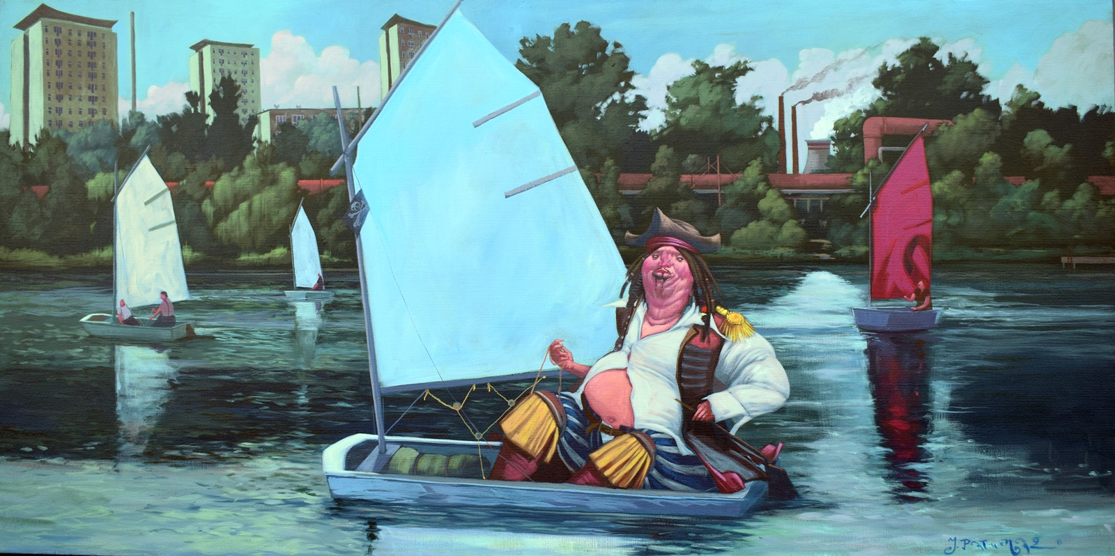 """Jacek Pałucha, """"Pirat z glinianki"""", olej na płótnie, 140×70 cm"""